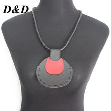 D&D New Long Leather Necklace Black Pendants Banquet Fahion leather Chocker For Womens Jewelry Accessories