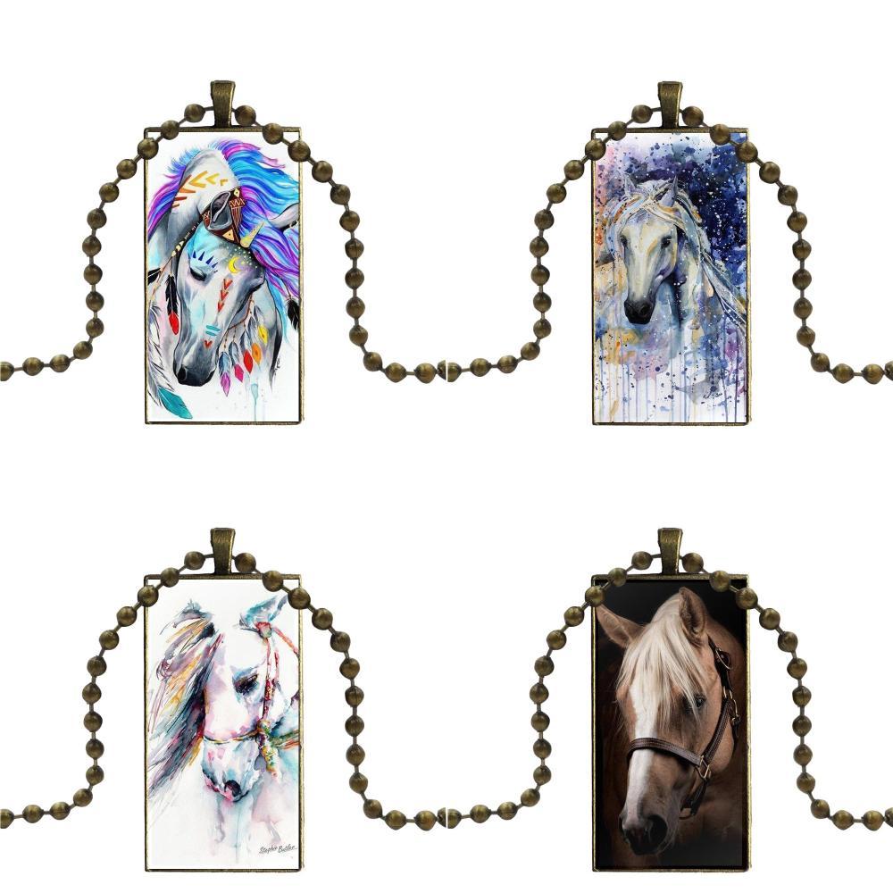 Оптовая продажа для девочек, стеклянный подвесной брелок с изображением лошади, прямоугольное модное ожерелье
