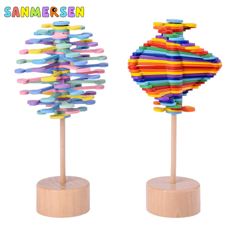 Wooden Magic Pressure Stress Relief Toys Rotating Lollipop Creative Art Decor For Home School Decompression Autism Family Toys