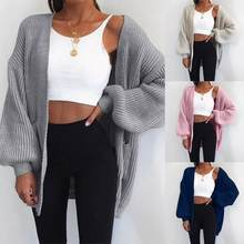 Wanita Cardigan Sweater Top Solid Warna Lengan Batwing Knit Sweater Cardigan Longgar Terbuka Depan Sweater(China)