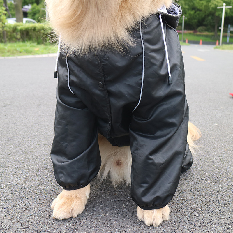 Raincoat Big Dog Black/Red Pocket Reflective Jumpsuit Rain Coat For Large Dogs Golden Retriever Poncho Rain Cover Labrador 3XL