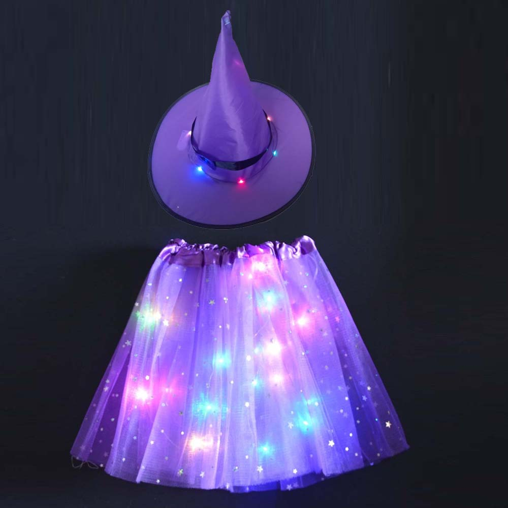 LED Glowing Lights Witch Hat With Skirt Halloween Costume For Women Kids Girls Wizard Cosplay Props Party Fancy Decor