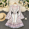 Boho 2021 High Waist Elegant Dresses Women Dress Party Luxury Long Sleeve Autumn Spring A-Line Runway Vintage Embroidery Puff 1