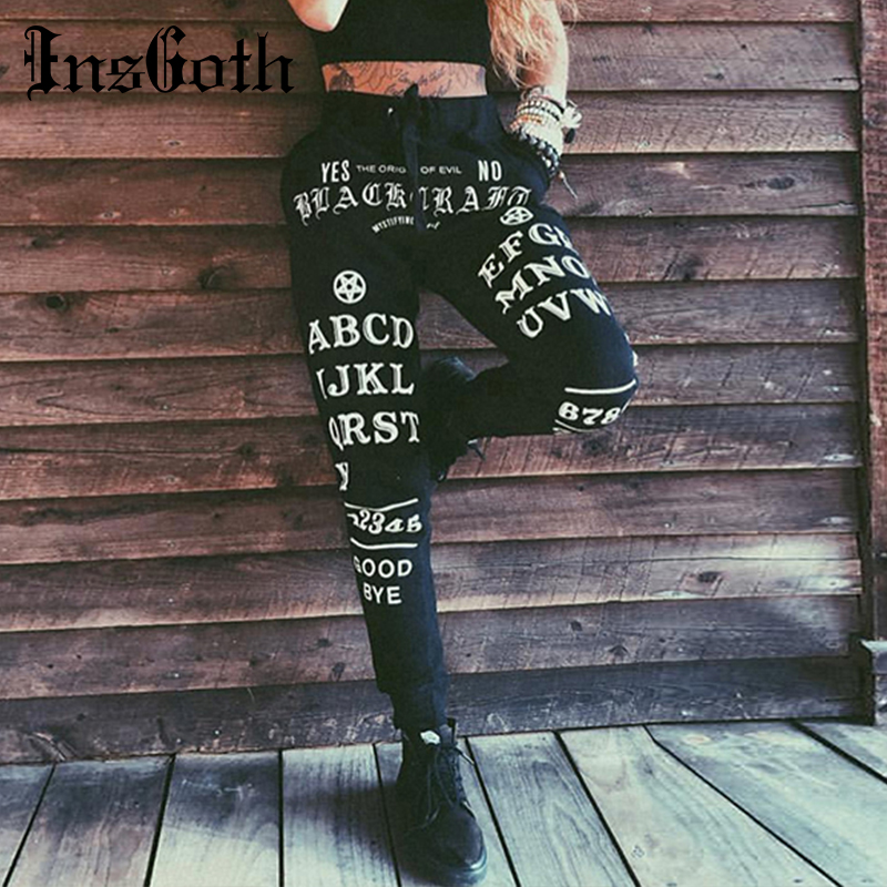InsGoth Black Harem Pants Women Gothic Letter Printed Long Trousers Casual Streetwear Punk Female Pants Loose Trouser Halloween