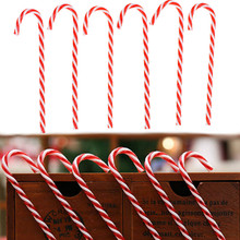 6Pcs Plastic Candy Cane Ornaments Christmas Tree Hanging Decorations For Festival Party Xmas