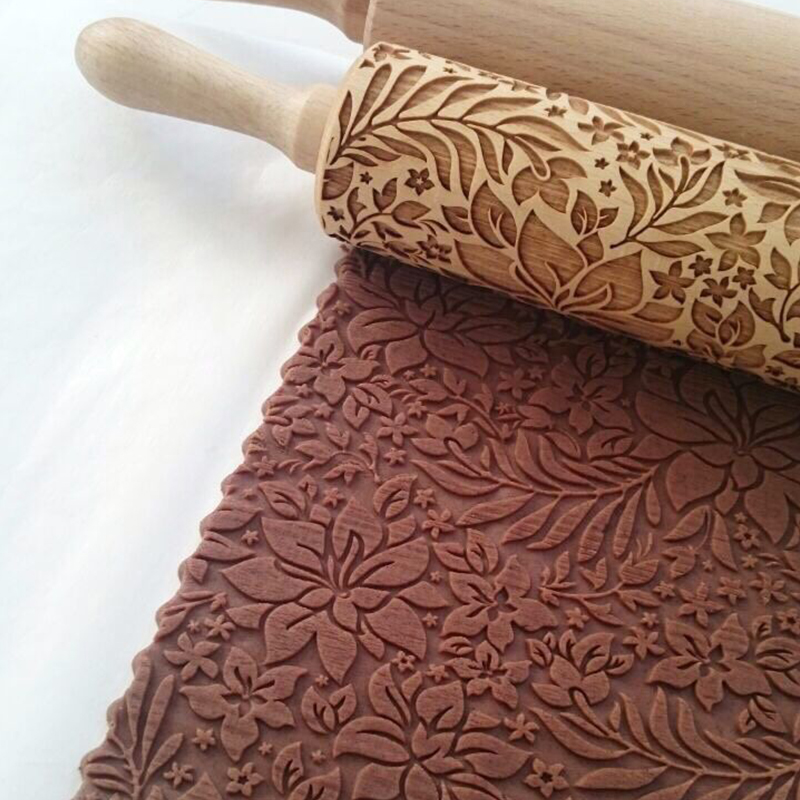 Hardwood Embossing Rolling Pin Perfect for decorating Fondant Cake and Cookie 12