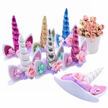 1 unidad unicornio cuerno torta Topper Tema de unicornio fiesta tarta de cumpleaños boda decoración fiesta de bienvenida para el futuro bebé niños Favor postre Topper suministros