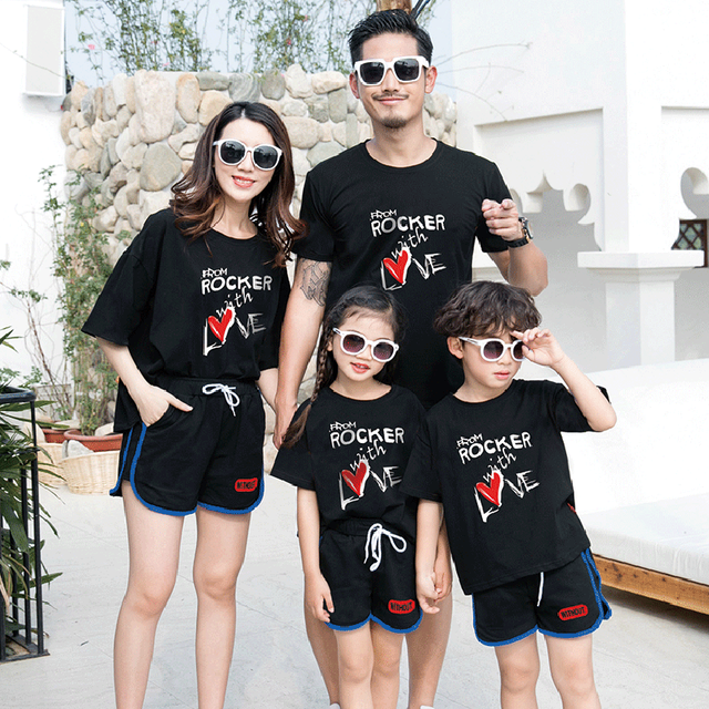 Conjunto de ropa de vacaciones en la playa para la familia, ropa para madre e hija, camiseta y pantalones cortos, conjunto de ropa a juego para padre e hijo