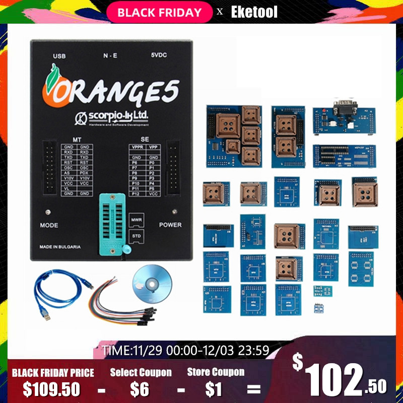 Orange 5 Full Adapters OEM Programming Device Hardware + Enhanced Function Software V1.34 Orange5 Get 2 Free Fix Pen