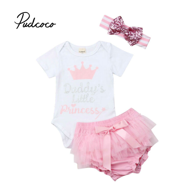 0-24M Cute Baby Girls Summer Clothing Kid Bodysuit Tops+Cupcake Dress+Headband 3pcs Outfits Kids Fashion Clothes Toddler Clothes