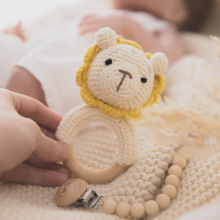 Wooden Grasping-Toys Teething Baby 0-12-Months Mobile-Rattle Bell Crochet Animals Natural