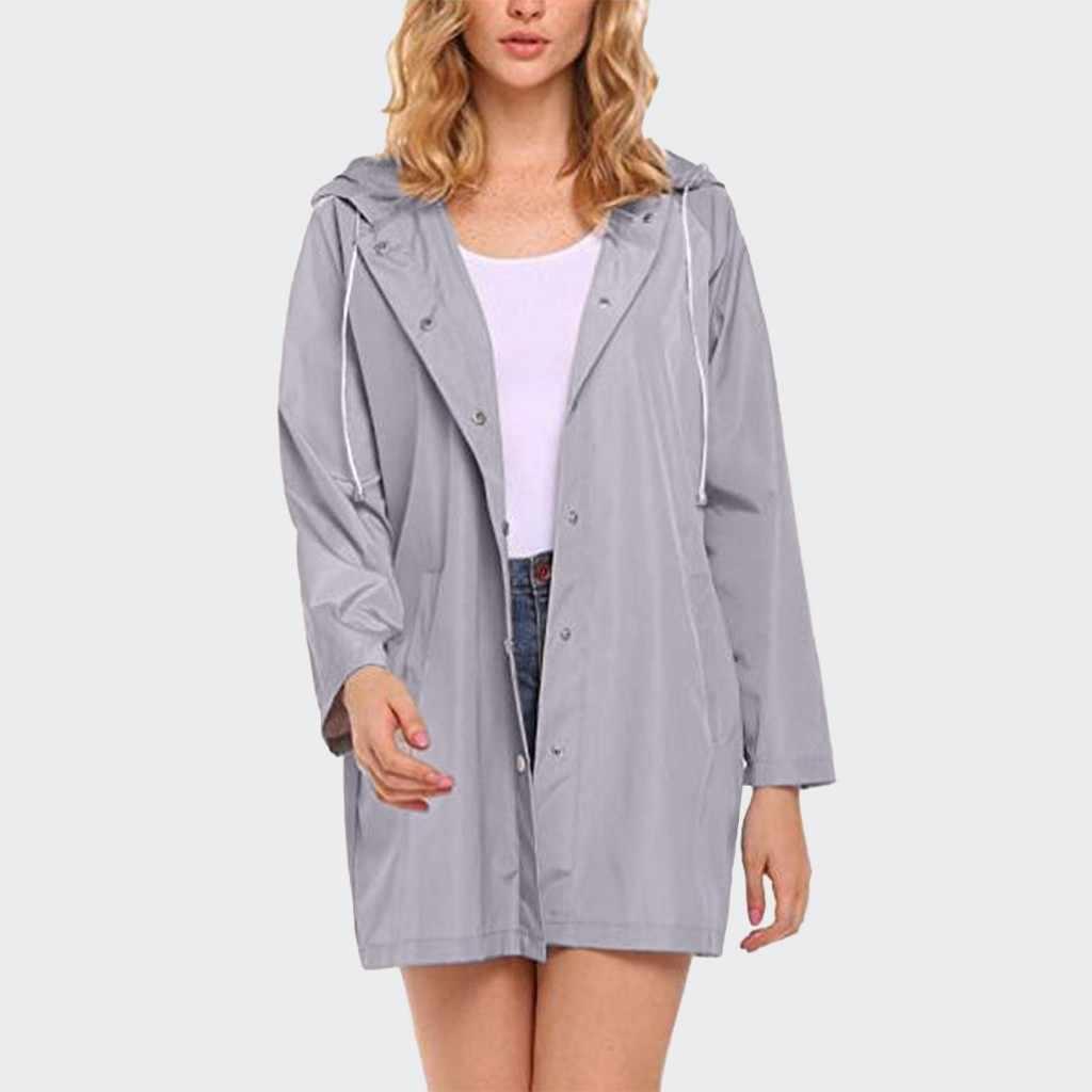 المرأة الصلبة المطر سترة في الهواء الطلق للماء مقنعين صامد للريح معطف واق جيب معطف سريعة الجافة معطف للرياضة واقية زر معطف