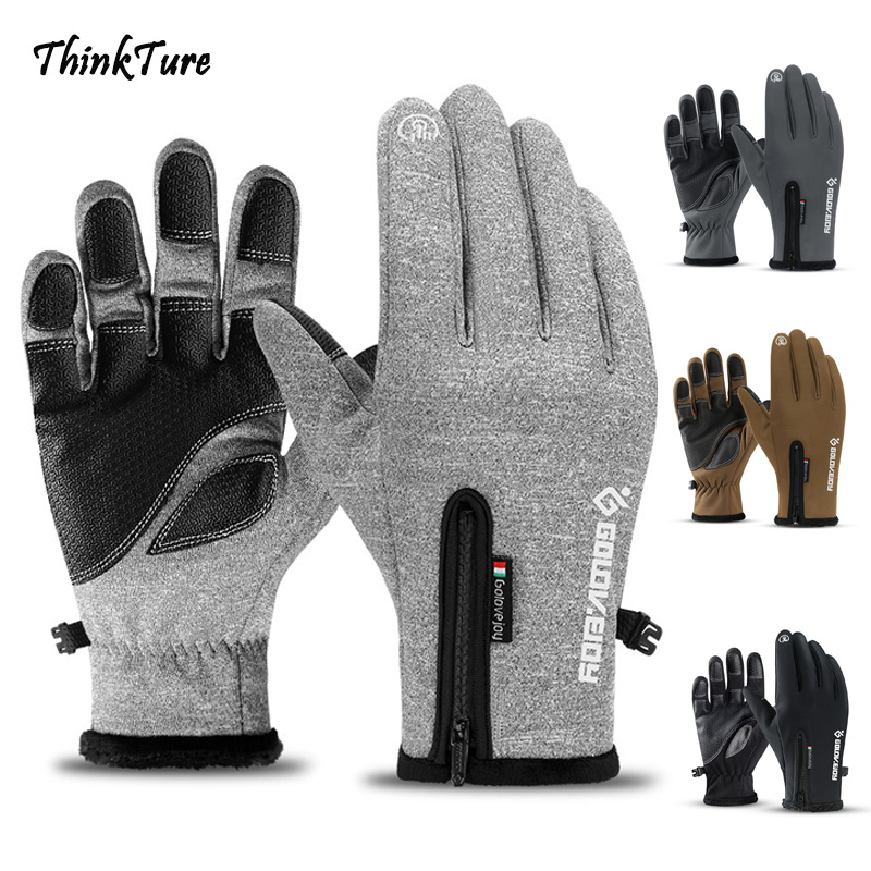 Winter Touch Screen Ski Gloves Full Finger Zipper Thermal Warm Waterproof Windproof Snowboard Gloves Riding Sport Skiing Mittens