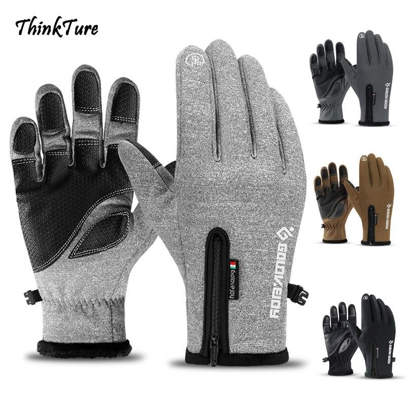 Winter Touch Screen Ski Gloves Full Finger Zipper Thermal Warm Waterproof Windproof Snowboard Gloves Riding Sport Skiing Mittens