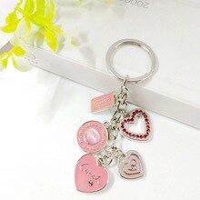 цена на Heart Droplet Oil Bag Drill Keychain Pendant Car Bag Decoration Key Chain  Metal Pendant Manufacturer Direct Selling Keyring