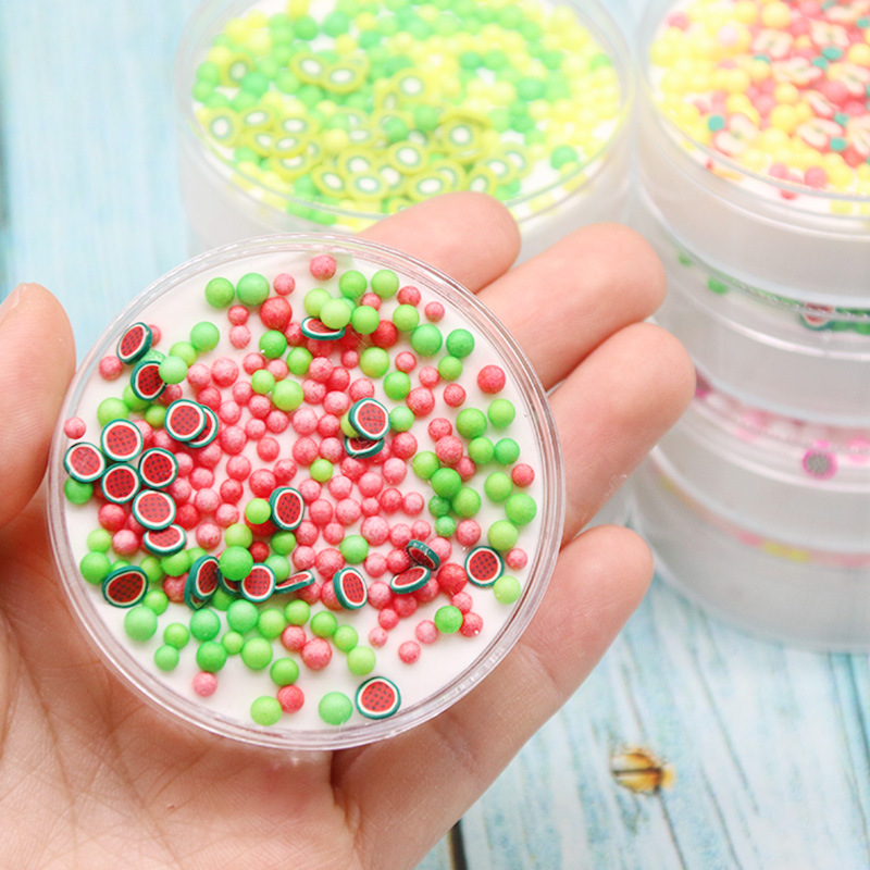 60ml DIY Fruit Charms Slime Supplies Fluffy Lizun Clay Toys For Foam Ball Air Dry Plasticine For Slime Kit Kids Antistress Toys
