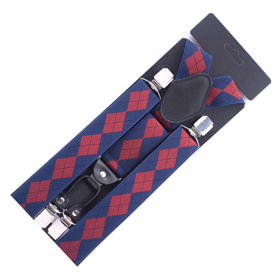 SHOWERSMILE Men Suspender Plaid Navy Blue Suspender Plus Size 125cm Mens 4 Clip Suspenders Braces Y Back Man Striped Pants Strap