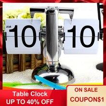 Часы настольные часы маленькие весы Ретро Флип над часами стол из нержавеющей стали Флип внутренний механизм управляемые кварцевые часы черный белый