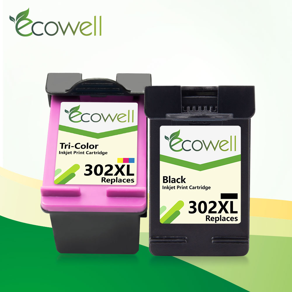 ECOWELL 302XL replacement for <font><b>hp</b></font> 302 XL hp302 <font><b>Ink</b></font> Cartridge for <font><b>hp</b></font> <font><b>Deskjet</b></font> 1110 1111 1112 <font><b>2130</b></font> OfficeJet 5220 5230 5232 <font><b>printer</b></font> image