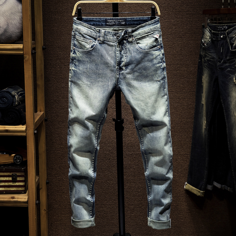 Italian Style Fashion Men Jeans Light Blue Vintage Slim Fit Ripped Jeans Men Classical Denim Pants Brand Designer Jeans Homme