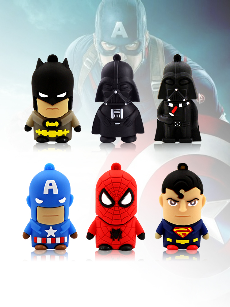 E2L8 Cartoon HERO Usb Flash Drive 16GB Pendrive Stick 8GB Usb 2.0 Memory Pendrive 32 GB Menoria Usb 64 GB Batman Flash Disk128GB