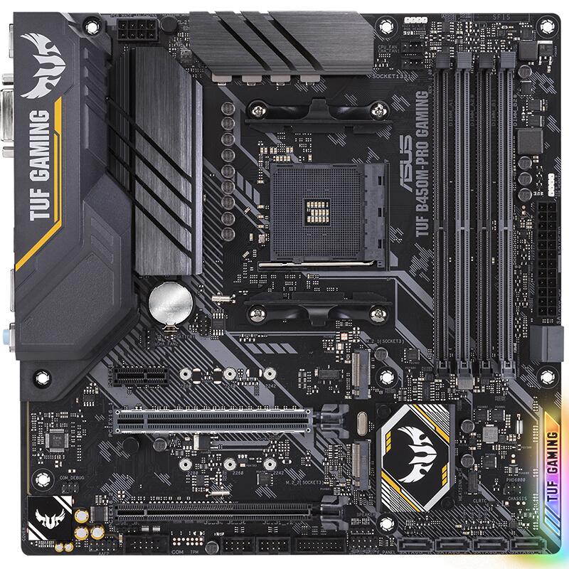 <font><b>Asus</b></font> TUF <font><b>B450M</b></font>-PRO <font><b>GAMING</b></font> Desktop motherboard Socket AM4 DDR4 64GB USB2.0 USB3.1 Desktop motherboard image