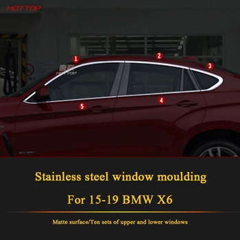 Stainless Steel Matte Sliver Window Frame Trims for BMW X6 2015-2019 Full window with center pillar