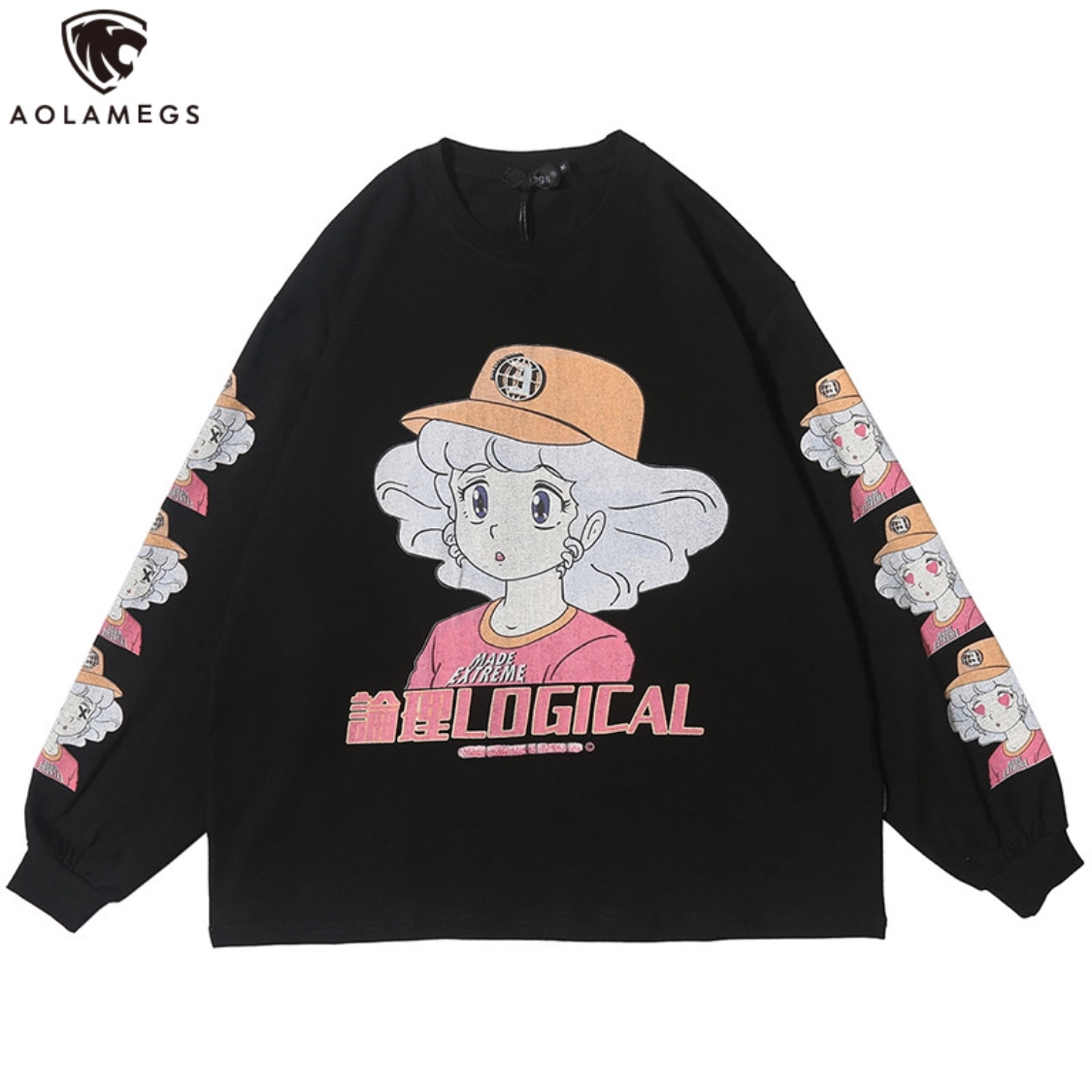 Aolamegs Sweatshirt Cartoon Comics Print Pullover Cozy 3 Color Optional All-match Hip Hop College Style Streetwear Couple Autumn
