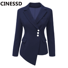 CINESSD Women Lapel Blazers Coat Solid Long Sleeve Single Breasted Office Lady P