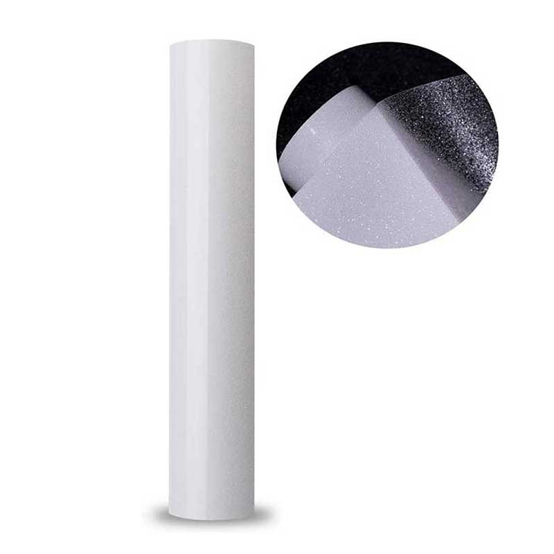 Glitter transferência de calor vinil ferro em transferência de vinil rolos htv para tshirt imprensa de calor vinil branco brilho fácil cortar erva daninha diy roupas