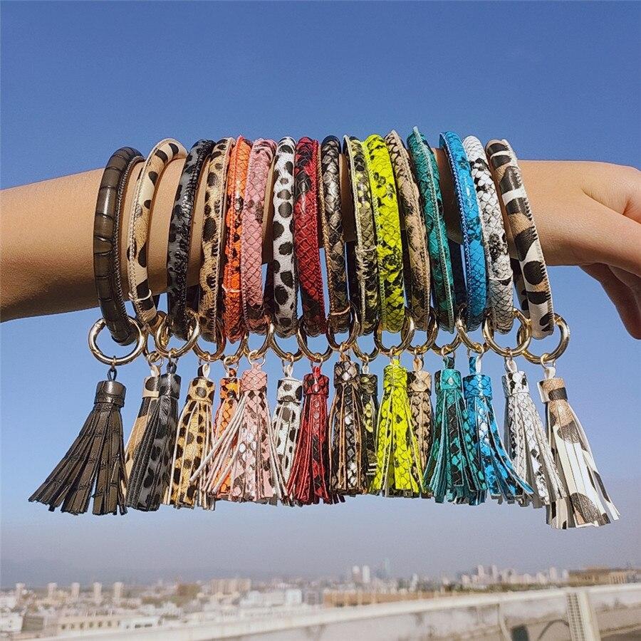 Tassel PU Leather Bangle Keychain For Women Fashion Leopard Print Bracelet Wristlet Key Chains Wrist Strap Key Ring Jewelry Gift