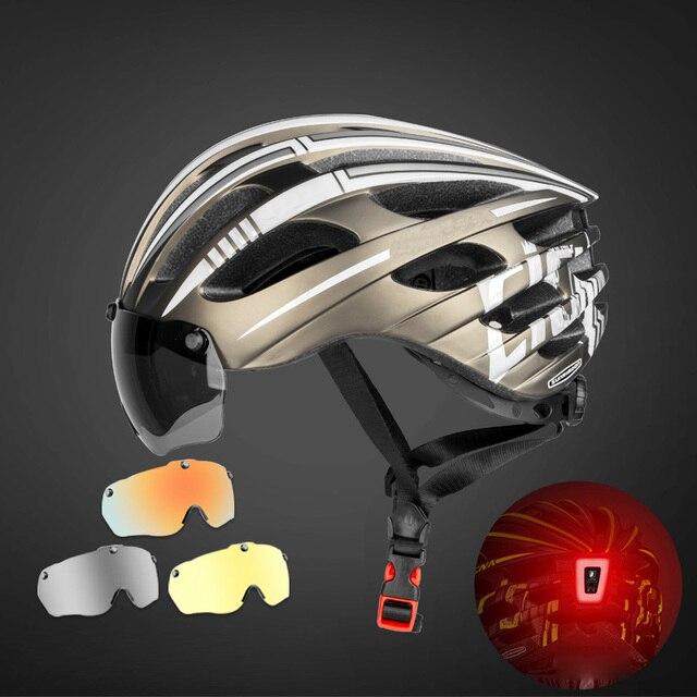 Especializado magnético ciclismo capacete da bicicleta viseira das mulheres dos homens ultraleve miopia mtb capacete com 3 óculos de lente removível 5