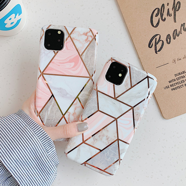 N1986N Phone Case For iPhone 11 11 Pro Max X XR XS Max 6 6s 7 8 Plus Luxury Electroplated Splice Marble IMD For iPhone 11 Cover
