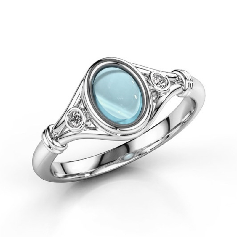 Opal Stone Ring For Women Lady Style Concise Semi precious Stone Cat's Eye Stone silver Color Fashion Jewelry Gift