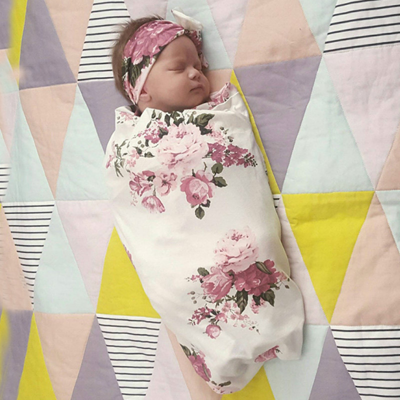 Floral Swaddle Set Baby Blankets Newborn Floral Print Muslin Swaddle And Headband 2 Pcs Soft Baby Bedding