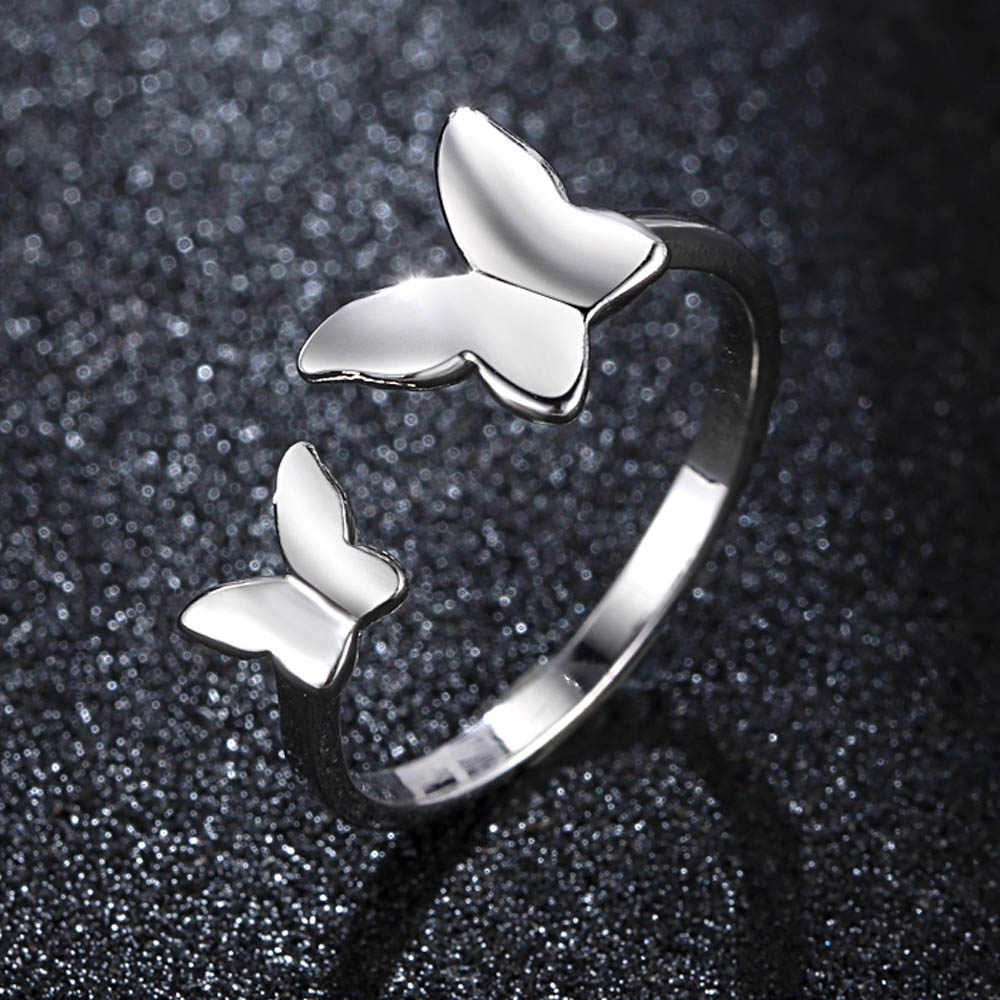 Gran oferta dije plata mariposas bailando anillos elegantes para mujer joyería de moda regalos anillo de compromiso Bagues para mujer