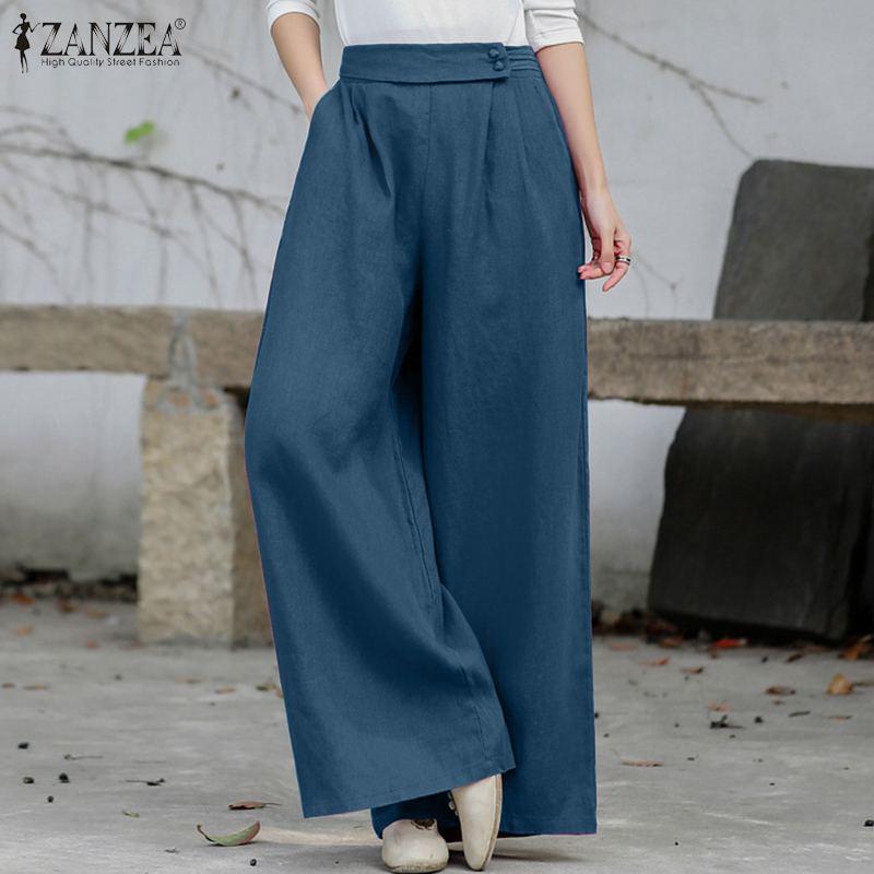 Vintage Wide Leg Pants ZANZEA Women Summer Trousers Casual Elastic Waist Solid Loose Pantalon Oversized Long Palazzo Streetwear