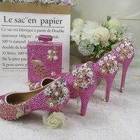 BaoYaFang Pink crystal Peacock Party Dress Shoes Bridal Wedding shoes and bags High heel platform shoes Big Size fashion Pumps