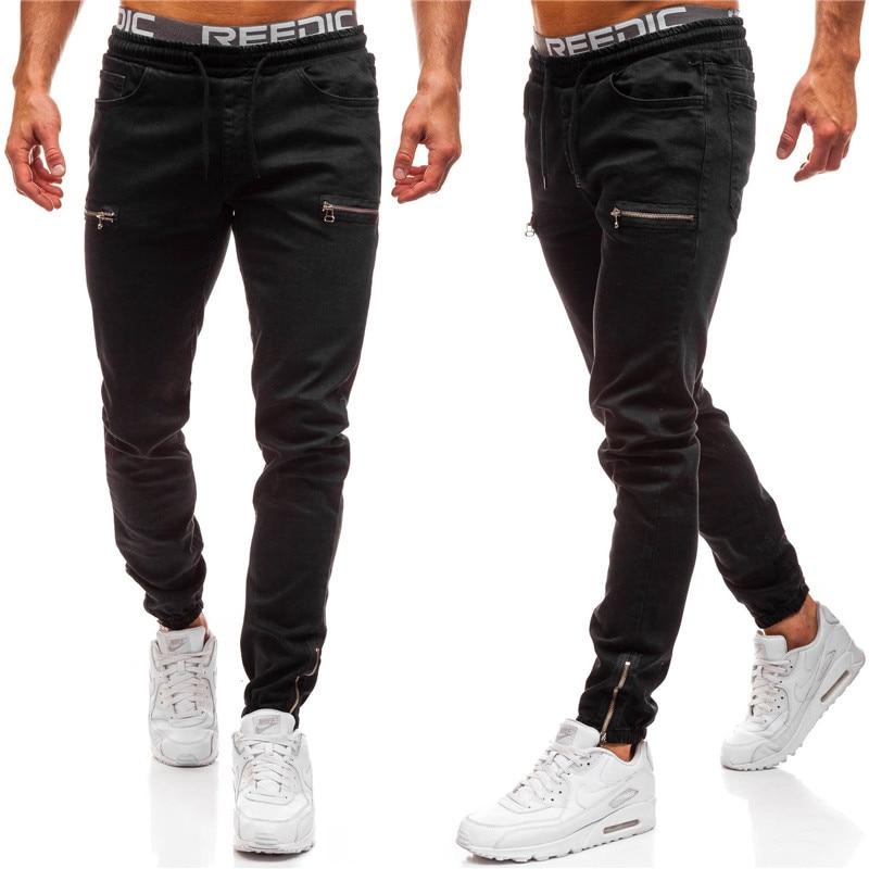 Mens Brand Skinny Jeans Pant Casual Trousers 2019 Denim Black Jeans Homme Stretch Pocket Zipper Pencil Pants Fit Streetwear 3XL