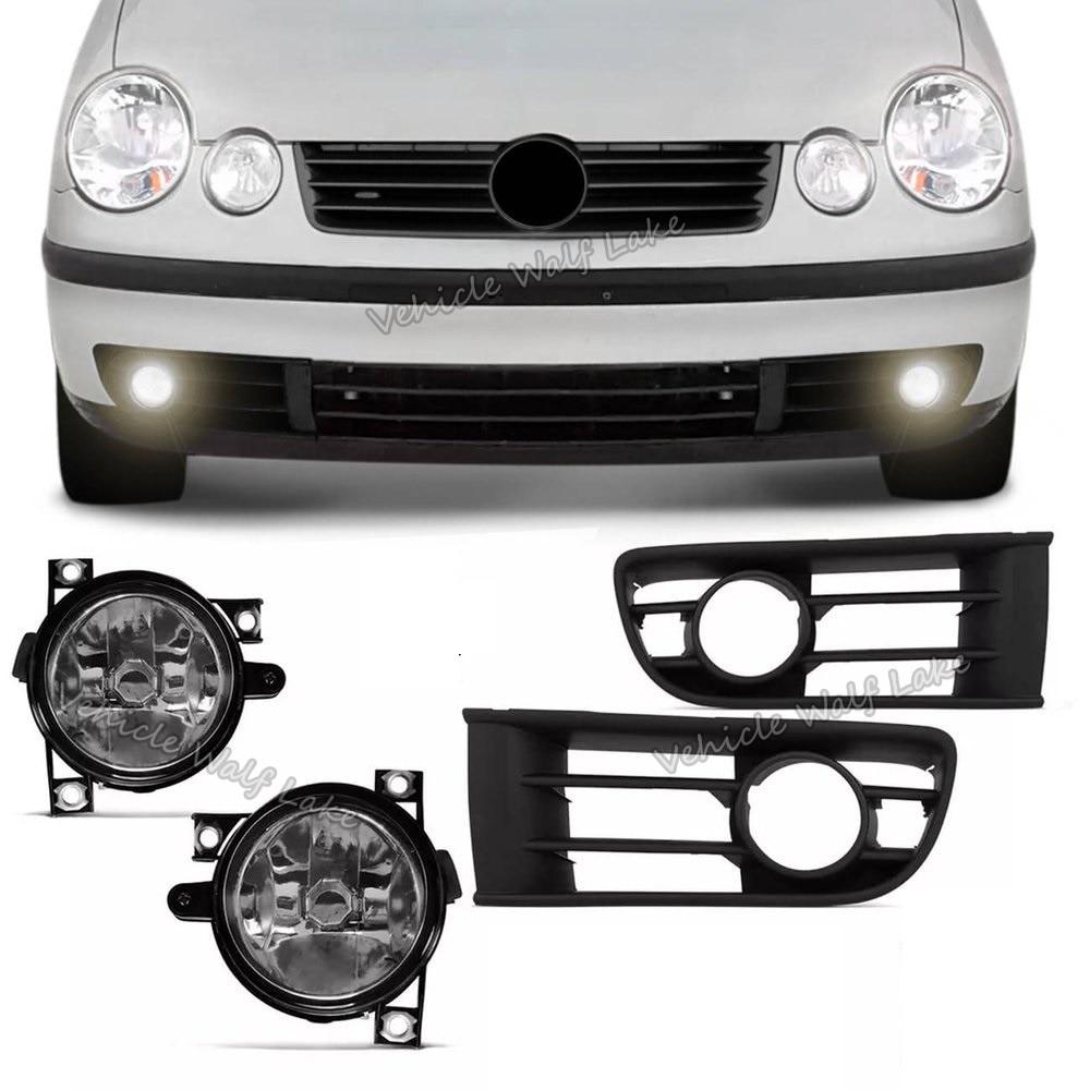 For VW Polo 9N 3 5 Door Hatchback 2001 2002 2003 2004 2005 Car-styling Font Halogen Fog Light Fog Lamp And Fog Light Grille