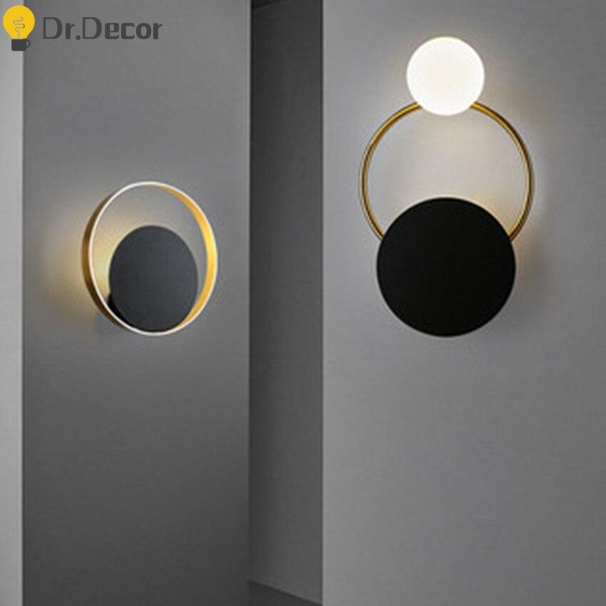 Modern LED Iron Glass Button Ring Wall Lamp Retro LOFT Indoor Lighting Wall Light Cafe Restaurant Balcony Bedroom Light Fixture