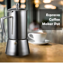 FIMEI 200ml Coffee Maker Pot Portable Espresso Moka Stainless Steel Brewer Kettle 4 People Cups