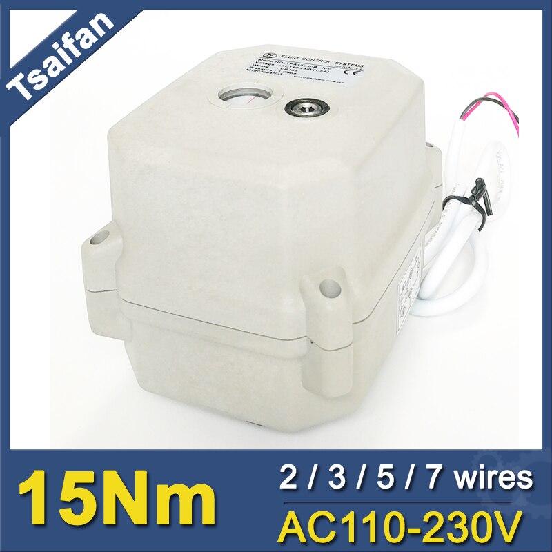 Actuador de válvula eléctrica de 15Nm ISO5211, grúa de conexión F03 y F05 estándar, actuador de válvula motorizada de 110V a 230V Tsaifan Válvula de Osmosis inversa de 4 vías de 1/4