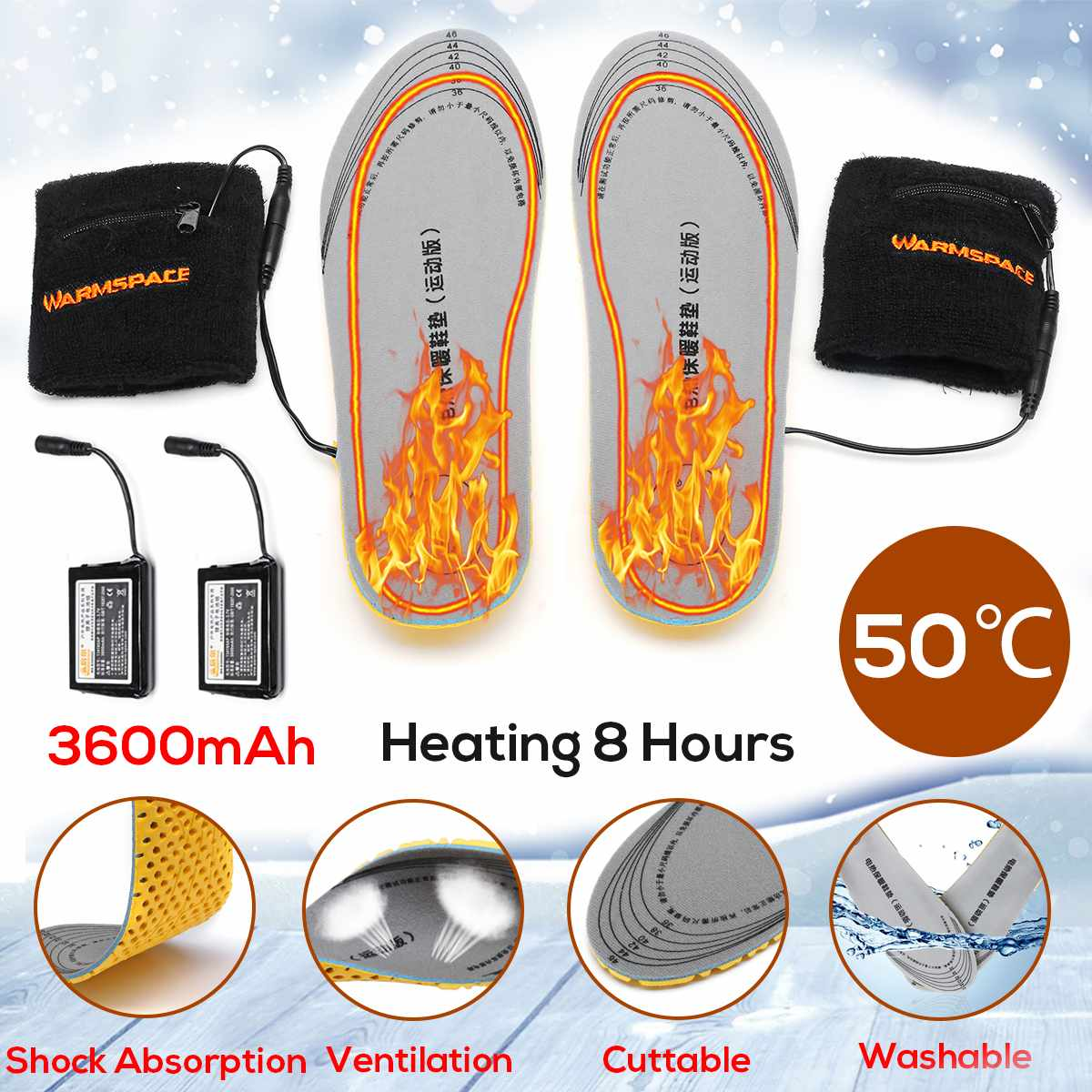 Unisex New USB Electric Powered Plush Battery Heating Insoles Winter Keep Warm Insole Heated Insole