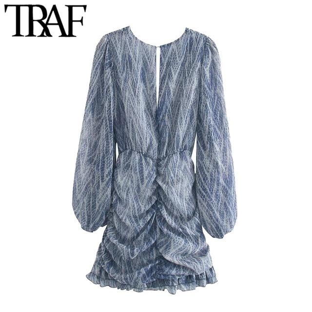 TRAF Women Chic Fashion Animal Print Asymmetric Draped Mini Dress Vintage Long Sleeve Ruffled Female Dresses Mujer 2