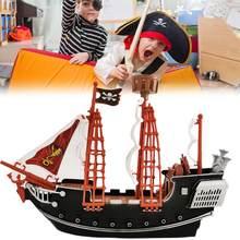 Halloween navio pirata modelo de brinquedo personagem navio taxiing barco aventura barco à vela família decoração ornamentos crianças brinquedos