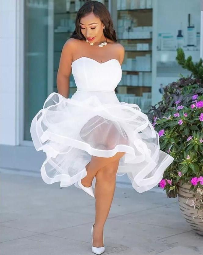 Sereia Vestidos de Baile Tea Comprimento Querida Ruffles Plus Size Vestido De Noite de Volta Zipper Organza Africano Mulheres Vestido De Noiva De Hóspedes - 2