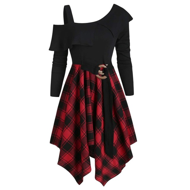 Women Sexy High Waist Asymmetric Gothic Plaid Mini Dress Preppy Casual Female Elegant Goth Punk Short Party Dresses Vestido #T2Q 4
