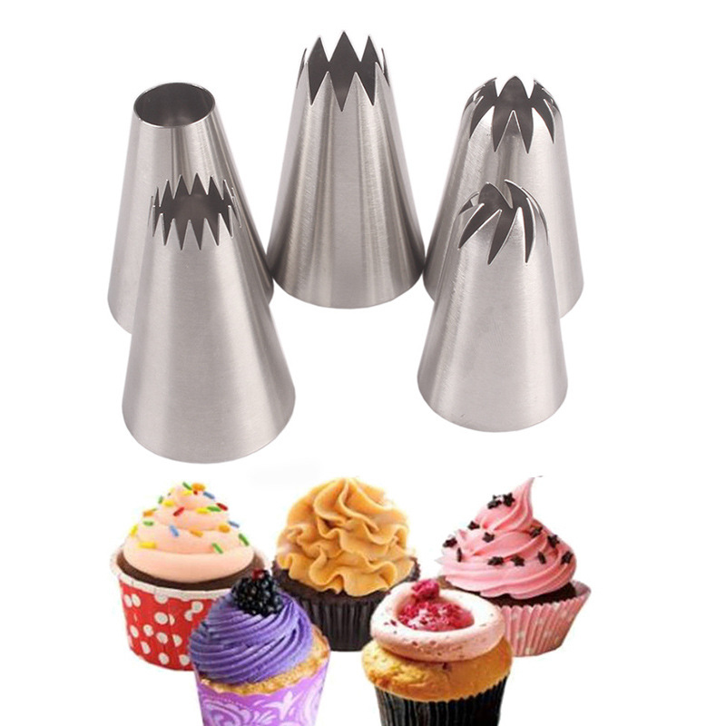5pcs/set Pastry Baking Flowers Icing Piping Tips Nozzle Stainless Steel Pastry Nozzle Cake Decorating