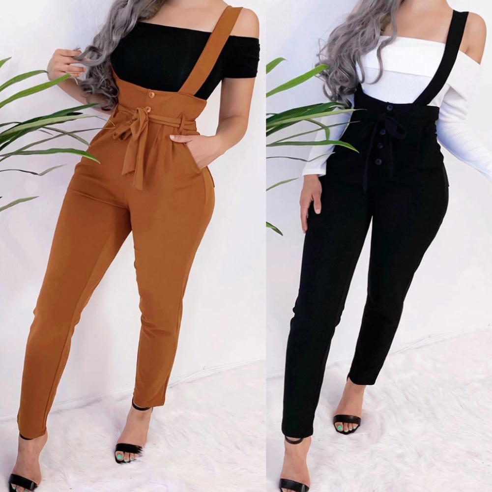 Women Autumn Casual Solid Color Suspender Trousers Slim High Waist Lace Up Pants